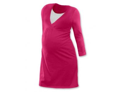 Jožánek Těhotenská a kojící noční košile (dlouhý rukáv) - sytě růžová