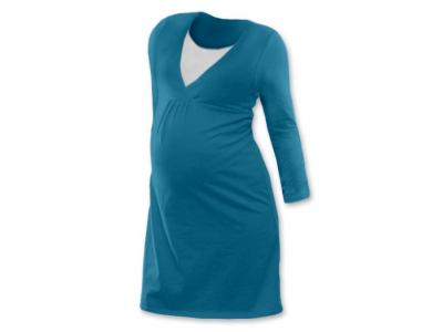 Jožánek Těhotenská a kojící noční košile (dlouhý rukáv) - tmavý tyrkys