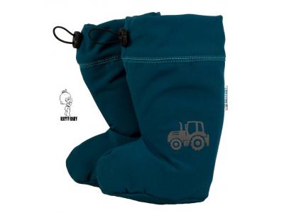 Katyv Baby Botičky s MERINO vlnou - Petrolejový softshell / traktor