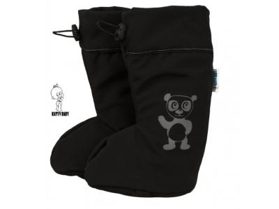 Katyv Baby Botičky s MERINO vlnou - Černý softshell / panda