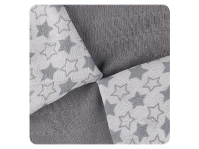 KIKKO Bambusové ubrousky Little Stars Silver MIX 30x30cm 9ks