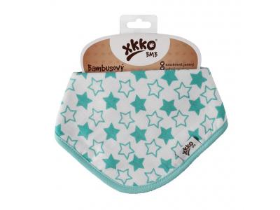 Kikko Dětský bambusový šátek/slintáček Little Stars Turquoise