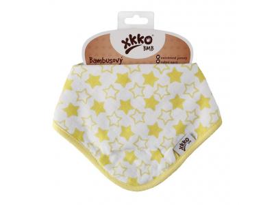 Kikko Dětský bambusový šátek/slintáček Little Stars Lemon