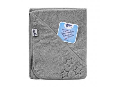 KIKKO BIO bavlněná froté osuška s kapucí XKKO Organic 90x90 - Silver Stars