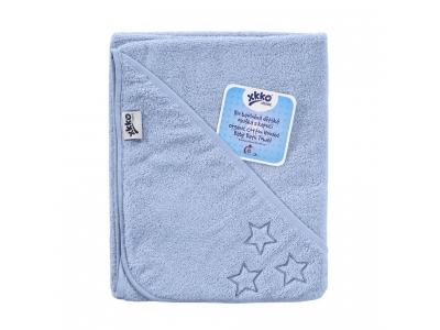 KIKKO BIO bavlněná froté osuška s kapucí XKKO Organic 90x90 - Baby Blue Stars