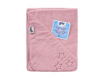KIKKO BIO bavlněná froté osuška s kapucí XKKO Organic 90x90 - Baby Pink Stars