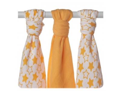 KIKKO Bambusové pleny XKKO BMB 70x70 - Little Stars Orange MIX - 3ks