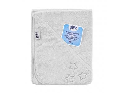 KIKKO BIO bavlněná froté osuška s kapucí XKKO Organic 90x90 - White Stars