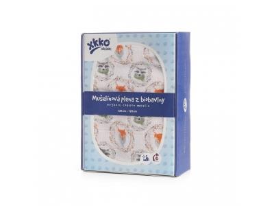 KIKKO Biobavlněná plena XKKO Organic 120x120 - Fox&Raccoon