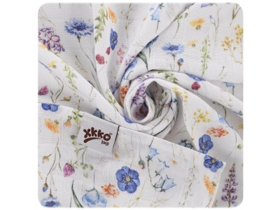 Kikko Bambusová zavinovačka XKKO BMB 120x120 Digi - Blue Wild Flowers