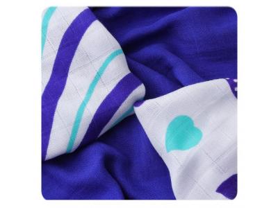 KIKKO Bambusové ubrousky Hearts&Waves 30x30cm 9ks - modrá srdíčka