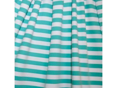 Úplet Teplákovina z BIO bavlny - pruhy mint/bílá