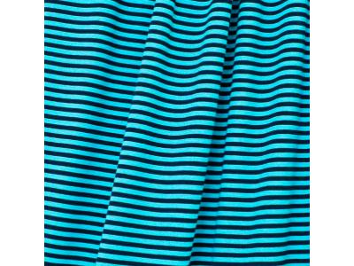 Úplet z BIO bavlny - tyrkysovo tmavě modré pruhy