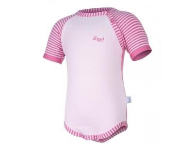 Little Angel Body Outlast® tenké, krátký rukáv - světle růžové z pruhovanými rukávy