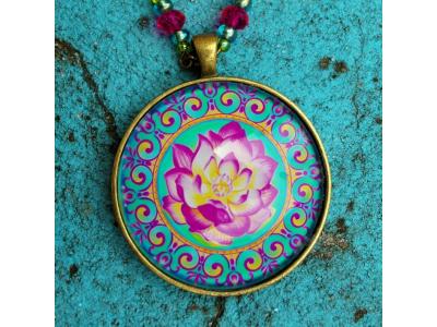FlowerOfLife9 Přívěsek mandala Rozkvétající lotos