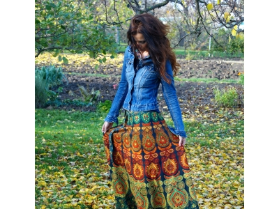 FlowerOfLife9 Mandalová boho sukně - zelená