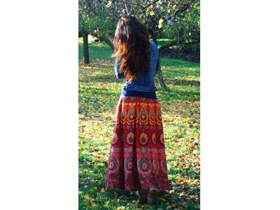 FlowerOfLife9 Mandalová boho sukně - červená