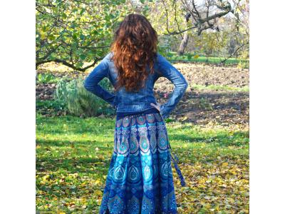 FlowerOfLife9 Mandalová boho sukně - modrá