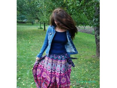 FlowerOfLife9 Mandalová boho sukně - fialová