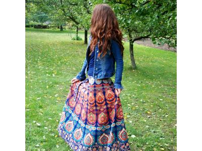 FlowerOfLife9 Mandalová boho sukně - modrooranžová