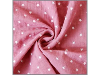 Mušelín z bavlny - hvězdičky starorůžové