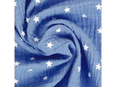 Mušelín z bavlny - hvězdičky jeans modré