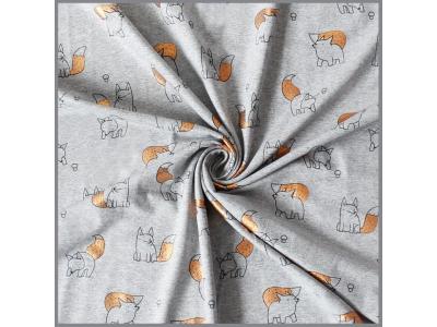 Bavlněný úplet šedý melír s měděným potiskem - Baby Fox