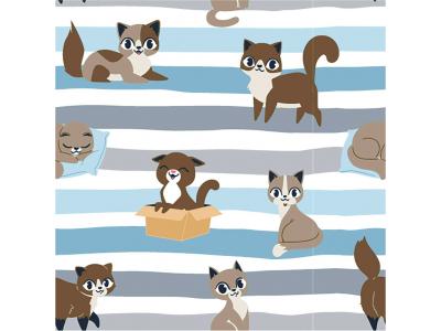 Úplet Kočky s pruhy - modrá
