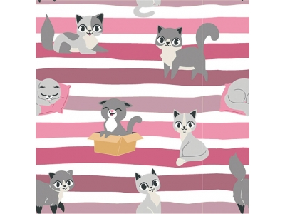 Úplet Kočky s pruhy - růžová