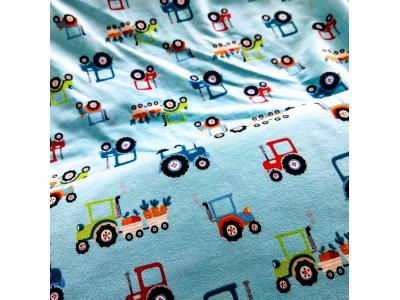 Úplet Traktory - světle modrá