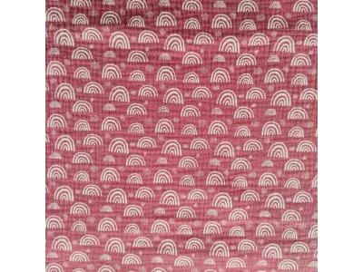 Mušelín z bavlny - Duhy na starorůžové