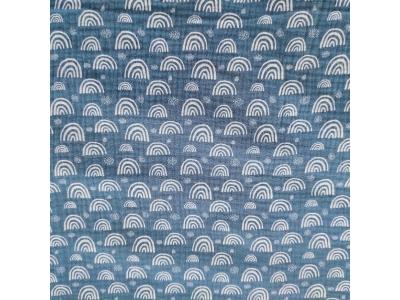 Mušelín z bavlny - Duhy na modré