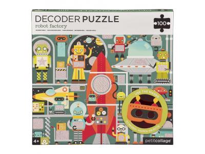 Petit Collage Puzzle roboti 100 ks s 3D brýlemi
