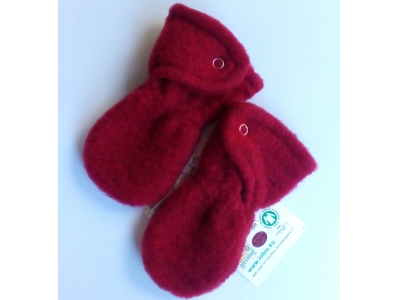 IoBio Rukavice pro novorozence z vlněného flísu - červené