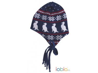 IoBio Pletená čepice z MERINO vlny - modrá
