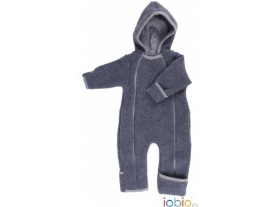 IoBio Vlněný baby overal s kapucí - Anthracit