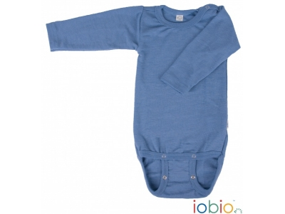 Iobio kojenecké body 100% vlna, dlouhý rukáv - modré