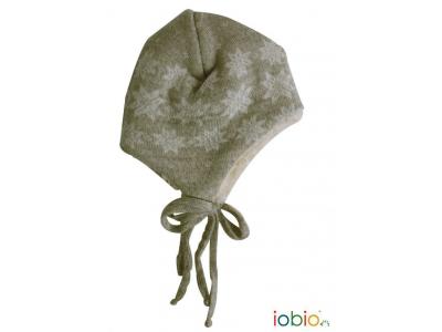 IoBio Pletená čepice z MERINO vlny - režná hnědá