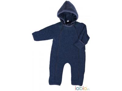 IoBio Vlněný baby overal s kapucí - modrá