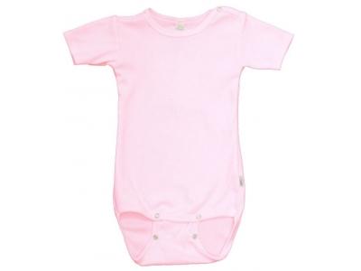 Iobio kojenecké body vlna / hedvábí - krátký rukáv, růžové