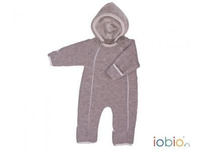 IoBio Vlněný baby overal s kapucí - béžová