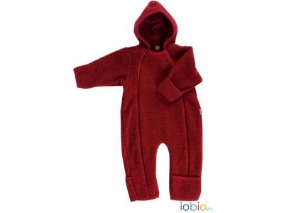 IoBio Vlněný baby overal s kapucí - červená