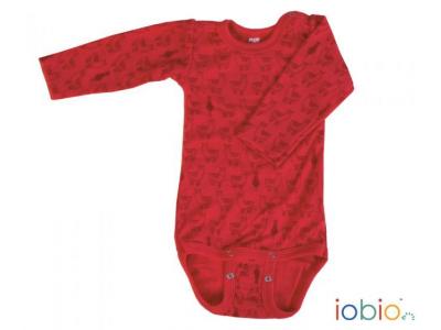 Iobio kojenecké body 100% vlna, dlouhý rukáv - Lama Red