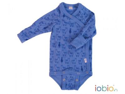Iobio zavinovací kojenecké body 100% vlna, dlouhý rukáv - Lama Jeans
