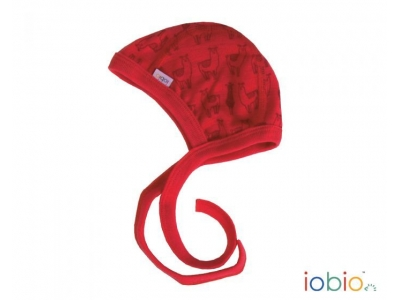 IoBio Čepička, 100% merino vlna - Lama Red