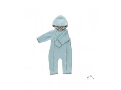 IoBio Vlněný baby overal s kapucí - světle modrý