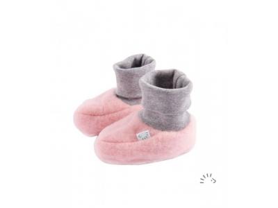 IoBio Botičky pro novorozence z vlněného flísu - růžové