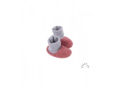 IoBio Botičky pro novorozence z vlněného flísu - korálové