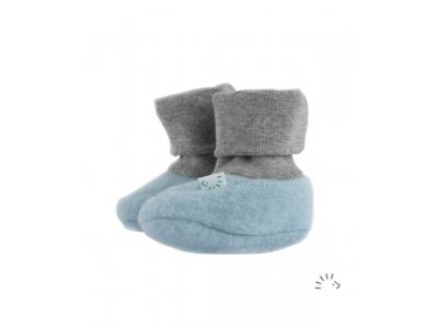IoBio Botičky pro novorozence z vlněného flísu - světle modré