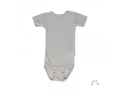 Iobio kojenecké body vlna / hedvábí - krátký rukáv, grey